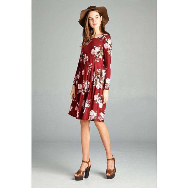 Marissa Floral Print Jersey Dress with Side Pockets
