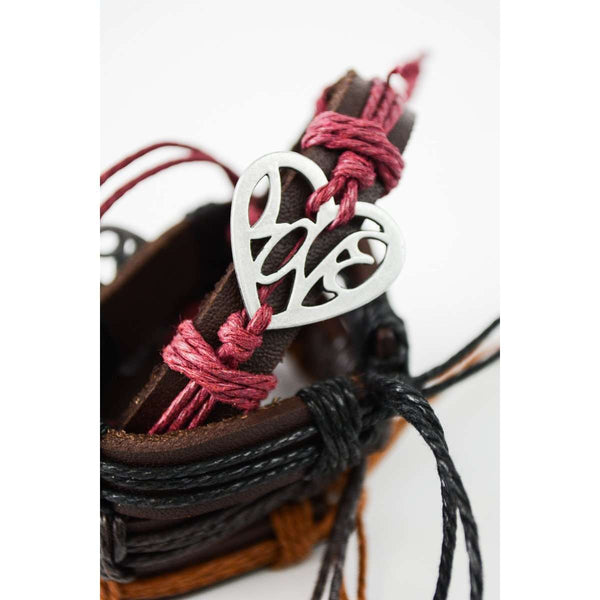 Leather Strap Heart Bracelet