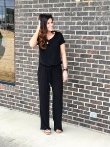 Toree Black Short Sleeved Jumpsuit With Drawstring