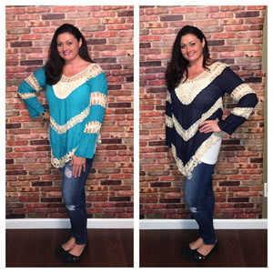 Jodie Colorblock Knit Tunic w/ Crochet Details