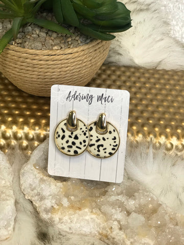 Annie Animal Print Disc drop Earrings