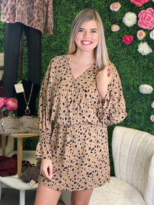 Kikki Smocked Bell Sleeve Cheetah Surplice Dress