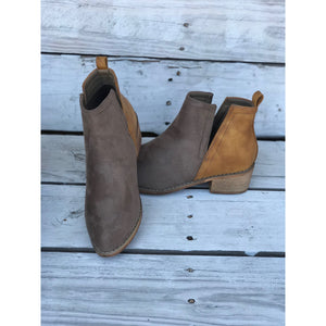 Shield Two-Toned Cognac and Beige Bootie
