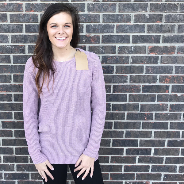 Misti Velvet Yarn Lavender Open Back Sweater