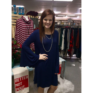 Lawton Navy Bell Sleeve Round Neck Dress