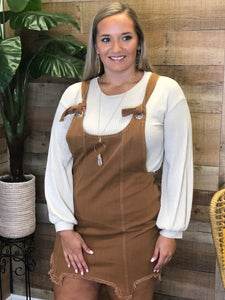 Caralena Chestnut Distressed Overalls Dress