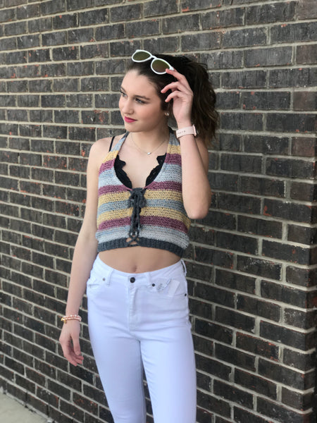 Linzee Crochet Halter Crop Top
