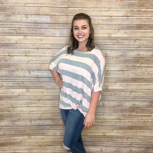 Terace Heather Grey And Pink Dolman Sleeve Side Twist Top