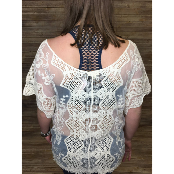Cora Slot Neck Emrboidered Lace Top