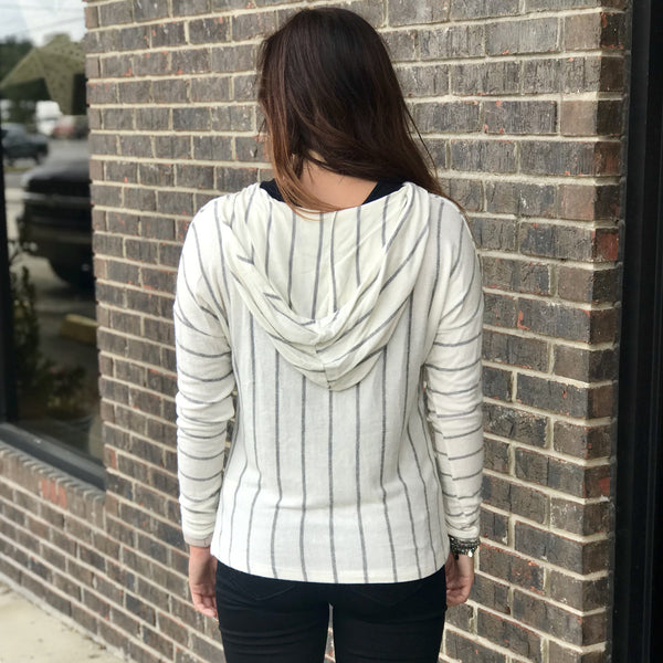 Frannie Striped Hoodie with Front Pouch Pocket