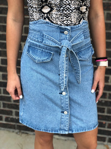 Yari Denim High Waisted Skirt
