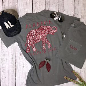 Alabama Grey Paisley Elephant Tee