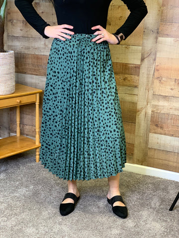 Mallie Mint Cheetah Midi Skirt