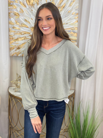 Hayley Long Bubble Sleeve Waffle Knit Top