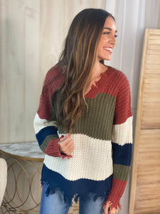 Diedra Distressed Color Block Sweater