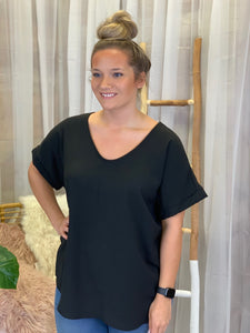 Shontel V Neck Black Lush Top