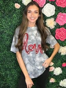 "Lola Grey Tie Dye ""Love"" Graphic Tee"