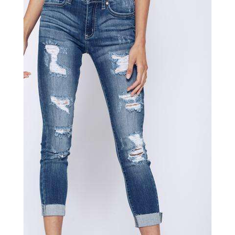 Opelika Distressed Mid Rise Stretchy Jeans