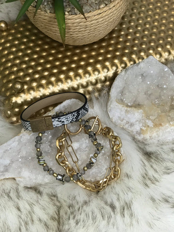 Savannah Snake Print Beaded Bracelet Set
