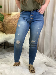 Courtney High Waisted Button Fly Medium Wash Skinny Jeans