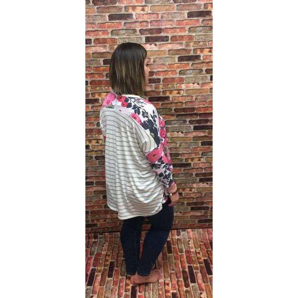 Havana Floral Front Striped Back High/Low tunic