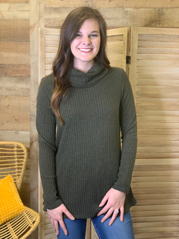 Portia Ribbed Cowl Neck Sweater