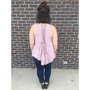 Suziee Lace Up Cinched Back Detailed Soft Pink Top