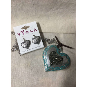 Silver and Teal Heart Necklace and Earrings