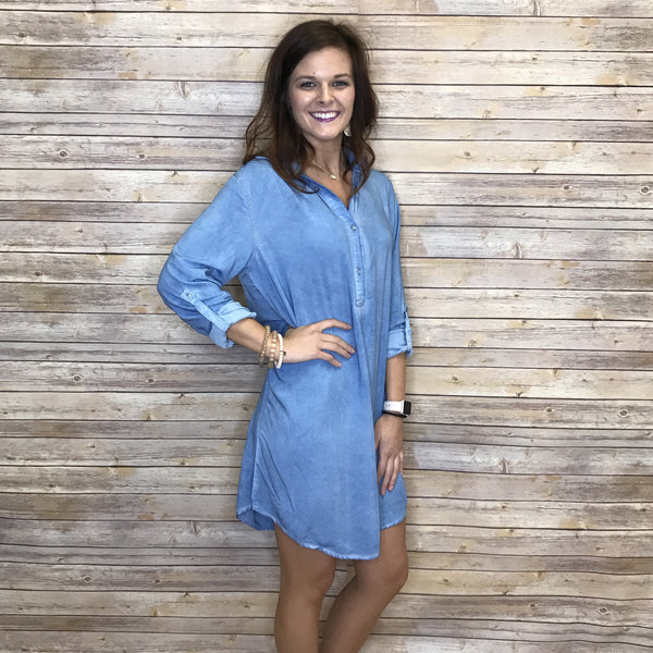 Lindy Thin Denim Roll Up Dress