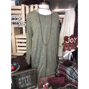 Angie Peek a Boo Back Squared Pocket Olive Dress