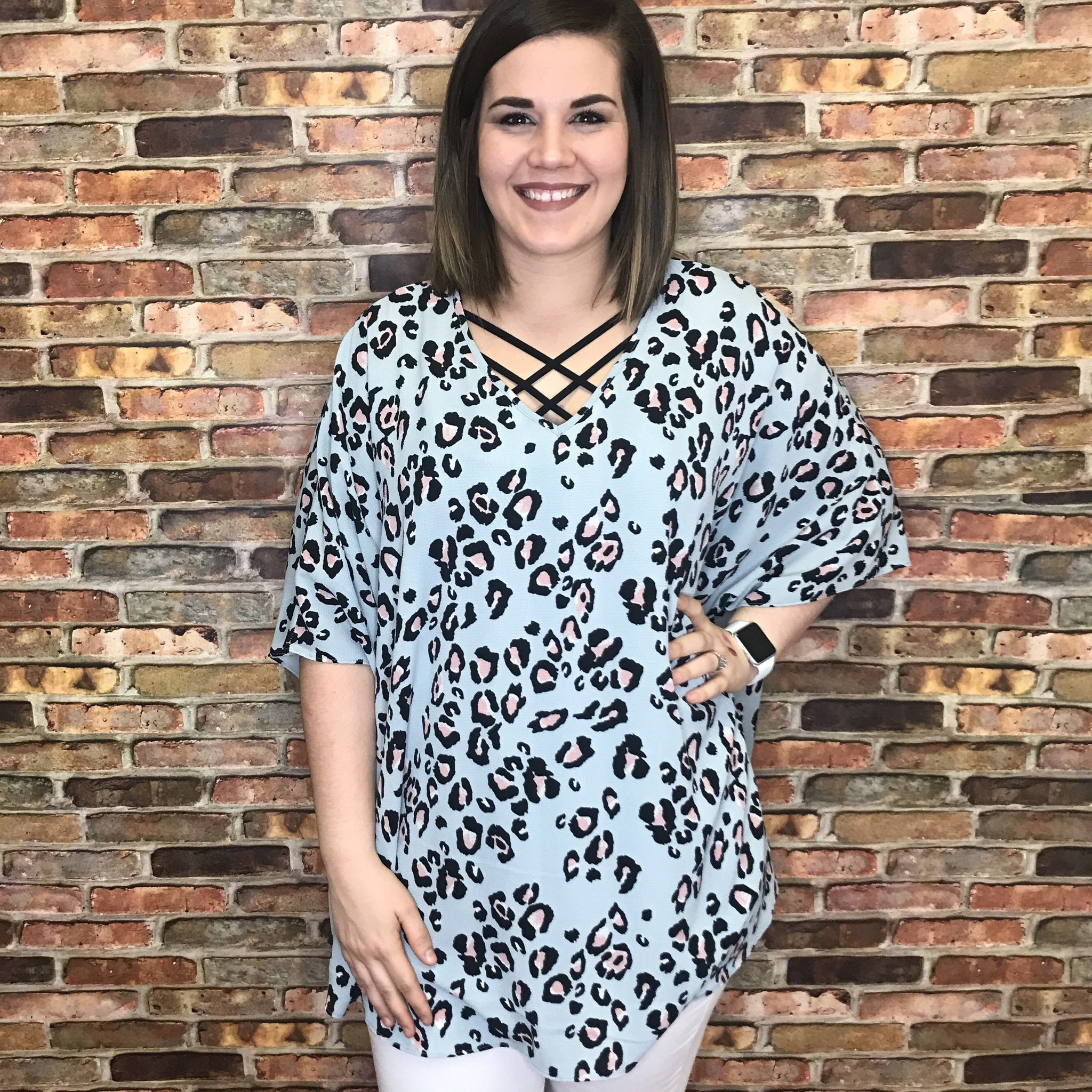 Lizz Mint Leopard Textured Lush Top