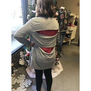 Carrie Open Back Cardigan Heather Grey