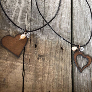 Leather Strap Heart Necklace