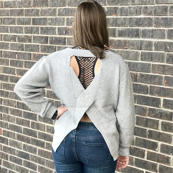Julie Open Criss Cross Back Sweater