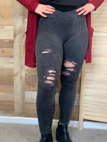 Nina Vintage Charcoal Destroyed Lush Leggings