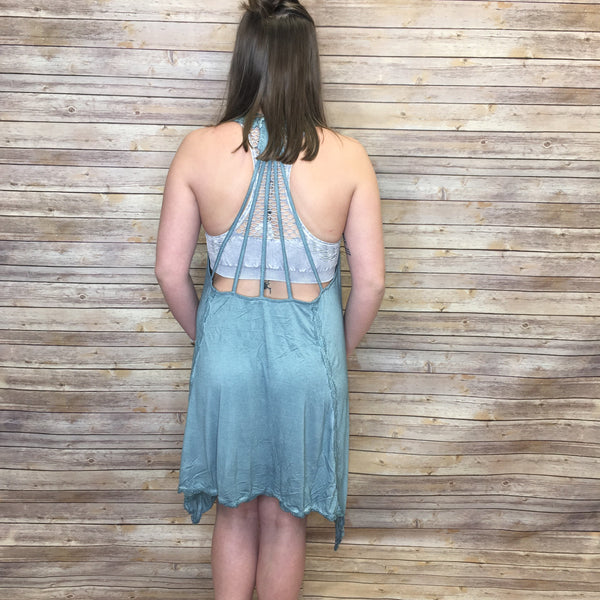 Shasta Shark Bite Flowy Open Back Detail Dress