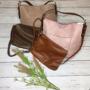 Hobo Shoulder Bag with Brown Straps