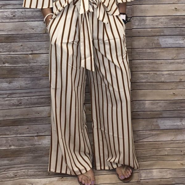 Adalee Striped Pants with Waist Tie