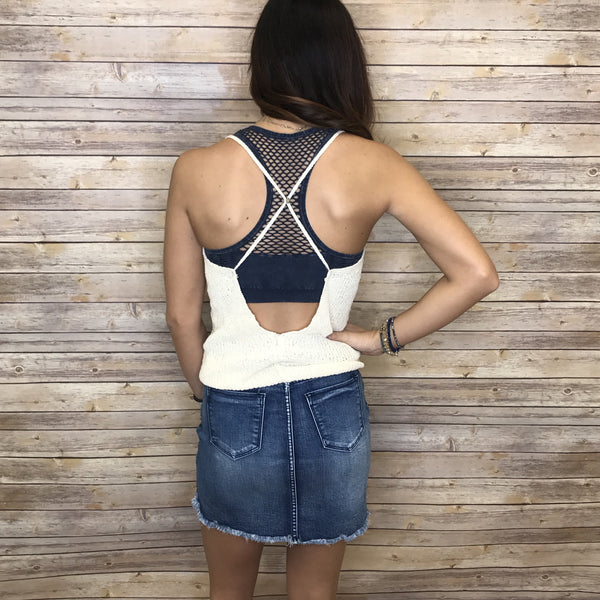 Jessica Knitted Open Back Detailed Tank Top
