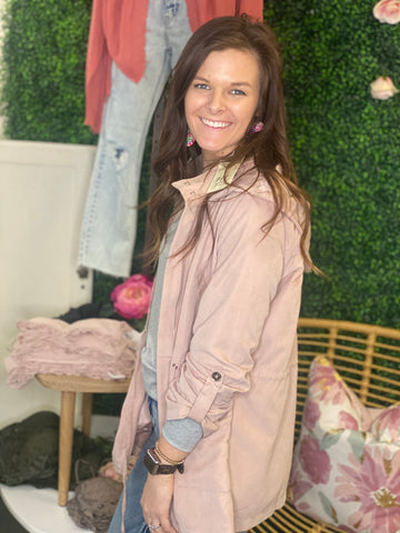 Danielle Blush Pink Hooded Cargo Jacket