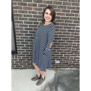 Denver Horizontal Striped Dress With Pockets And Elbow Patches