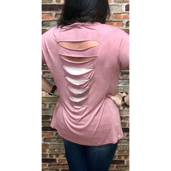 Sali Mauve Washed Lush Top With Slit Back