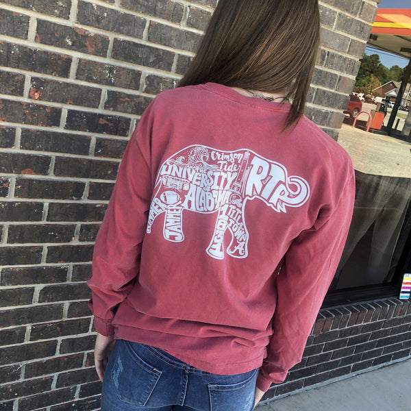 Alabama Busy Elephant Long Sleeve Pocket Tee