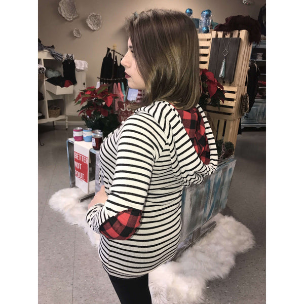 Laketown Black And White Striped Sweater With Buffalo Plaid Hoodie