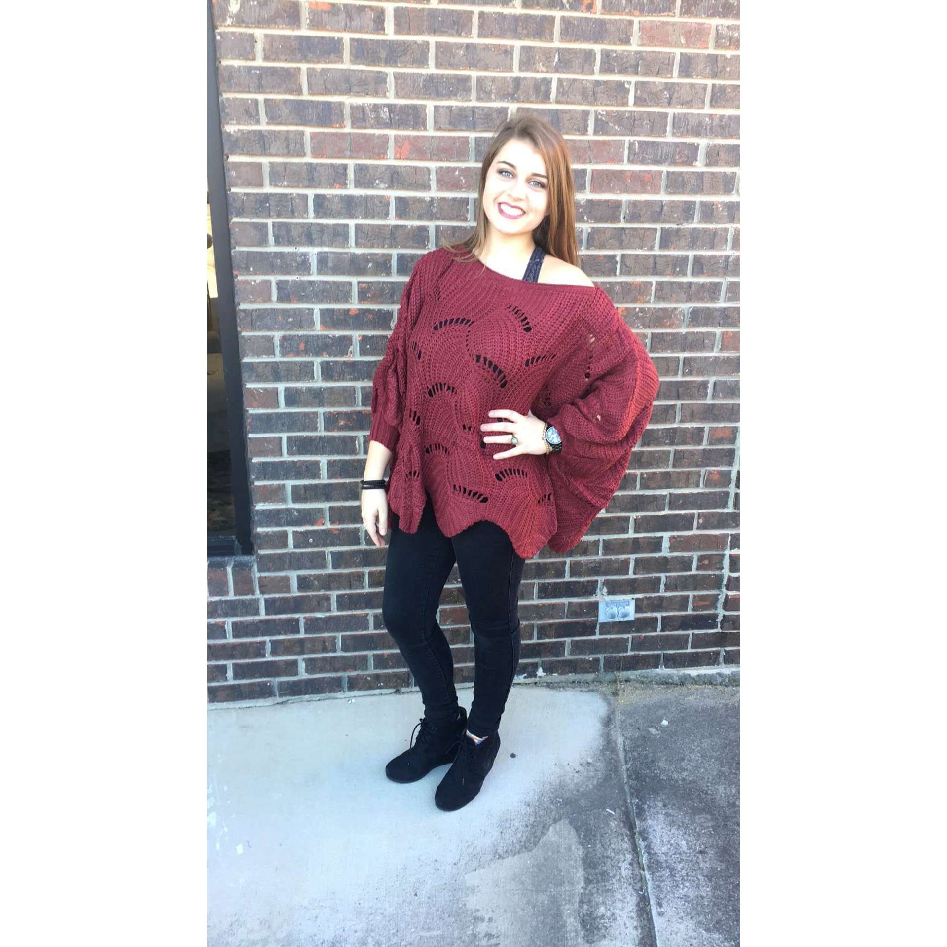 ST. Haven Marsala Knit Scalloped Dolman Sleeve Sweater