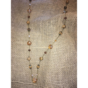 Beaded Necklace Wood & Champagne