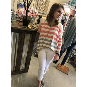 Lylan Peach And Grey Striped Top