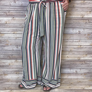 Nancie Narrow Stripe Lush Pants With Belt