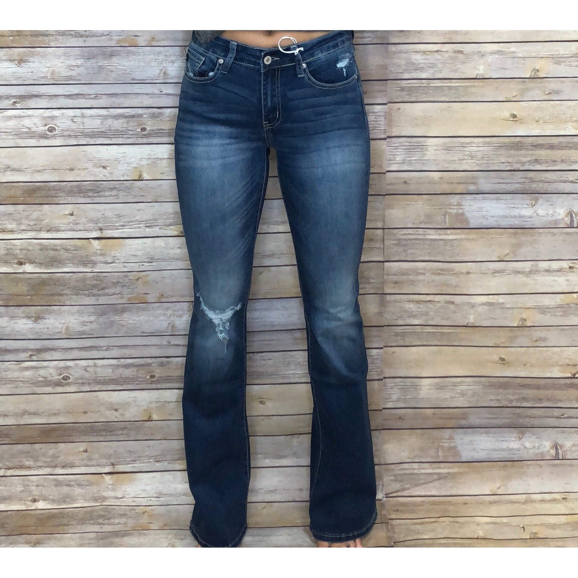Riley Scuffed Pocket Boot Cut Jean With Distressed Knee