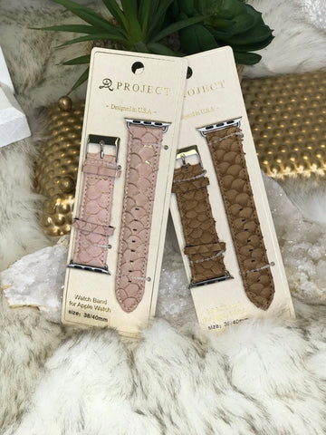 Sierra Snake Print Genuine Leather Watch Band